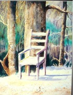 "W/C ""Uncle Aubrey's Chair"" by Katherine Cook in the collection of Kathy"