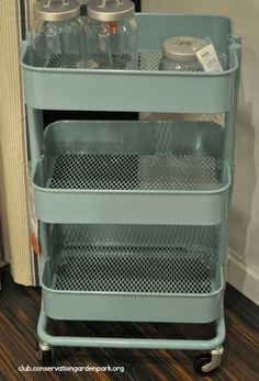I just love this ... came in robin's egg blue and see this year it is a deeper colour ...Raskog Kitchen Cart Ikea