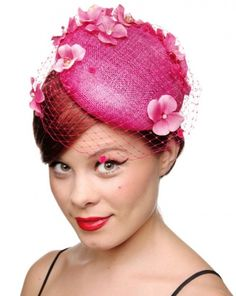 Rokit Vintage Clothing New Range, New In Stock Fascinator Hairstyles, Hat Hairstyles, Floral Fascinators, Hair Fascinators, Headpieces, Coral Pink, Magenta, Pillbox Hat, Cocktail Hat