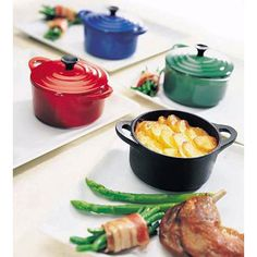 Just bought Le Creuset Mini Cocottes in Carribean and Cobalt Blue!! Can't wait to make creme brulee in them, I reckon they would be perfect!