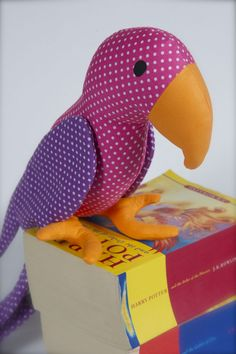Parrot soft toy, cotton fabric, ideal gift for a new nursery