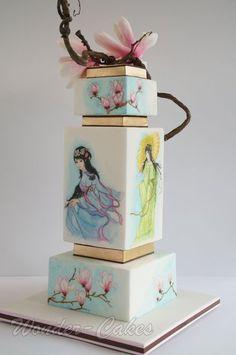 Japanese painted wedding cake