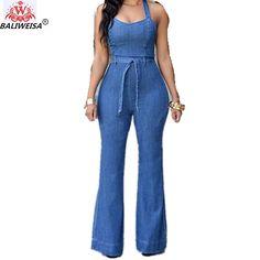 CBTLVSN Womens Casual U Neck Long Sleeve Wide Leg Pants Stripes Jumpsuit Romper