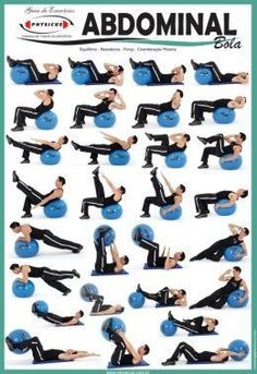 Exercise Charts for Stability Ball (Balance Ball, Swiss Ball.- Exercise Charts for Stability Ball (Balance Ball, Swiss Ball) and BOSU Balance Ball Bosu Charts – Stability Swiss Ball Exercise Wall Chart - Pilates Workout Routine, Pilates Abs, Best Ab Workout, Toning Workouts, Workout Videos, At Home Workouts, Workout Fitness, Exercise Routines, Exercise Motivation
