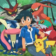 Ash Ketchum and Pikachu with their Kalos Pokémon Team ^.^ ♡ I give good credit to whoever made this