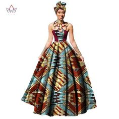 Image of Womens African Dress Dashikis Print Ball Gown Party Dress, Maxi and Strapless Women gown with Free Headwear Plus - without Necklace African Print Dresses, African Fashion Dresses, African Dress, African Outfits, African Prints, Vitenge Dresses, Summer Dresses, African Attire, African Wear