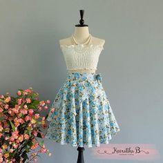 Summer's Whisper Floral Skirt Spring Summer Sweet Floral Skirt Party Cocktail Skirt Wedding Bridesmaid Skirt Blue Roses Floral Skirts