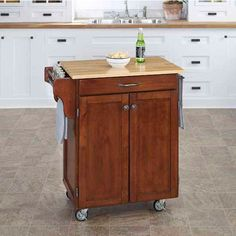 This Cuisine Cart from Mix and Match features a rich Cherry base with a Natural…