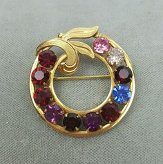 Vintage Van Dell gold-filled Mother's circle pin wreath multicolor rhinestones  #VanDell