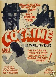 Vintage 1950's Anti Cocaine Ad Poster
