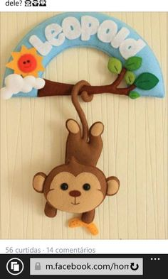 felt monkey name banner Baby Crafts, Felt Crafts, Diy And Crafts, Felt Name Banner, Name Banners, Hawaiian Party Decorations, Felt Wreath, Baby Mobile, Felt Baby