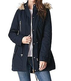 Glamsia Women's Anorak Jacket with Sherpa Lining and Faux Fur Hood (Navy, Medium)