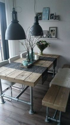 Industrial Look - 26 stylish furniture made of pipe connectors- Industrial Look – 26 stylische Möbel aus Rohrverbindern Build a table from pipes - Decor, Furnishings, Furniture, Interior, Stylish Furniture, Farmhouse Dining Table, Home Decor, Furniture Making, Home Deco