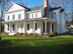 New 1850s Greek Revival Farm House traditional exterior