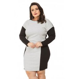 Vestido Listrado Preto Ponto Roma Miss Masy Plus Size Vestidos Plus Size, Vestido Casual, Moda Plus Size, Feminism, Ideias Fashion, Dresses For Work, Jeans, Products, Maxi Dresses