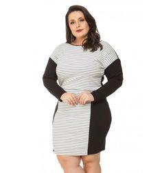 Vestido Listrado Preto Ponto Roma Miss Masy Plus Size  #modaplussize #roupasplussize #roupasfemininas #modafeminina #plussize #beline