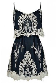 Lily Boutique - Macrame Antique Lace Navy and Beige Designer Dress $68
