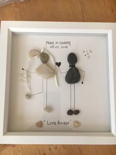 "Pebble picture ""Wedding"" couple celebrating marraige custom with name and date handmade in Scotland, pebble art, custom orders taken"