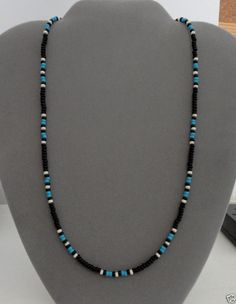Black, Blue Turquoise Mens,Wom Necklace Native American