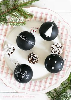 love chalkboard holiday! Painted Christmas baubles by Craft & Creativity. I've got some spare baubles somewhere