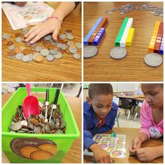 counting coins, mixed coins, My Coin Crew! Teaching Money, Teaching Time, Teaching Math, Teaching Ideas, First Grade Lessons, Math Lessons, Math Classroom, Kindergarten Math, Classroom Design