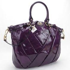 Coach 21299 Violet Purple Madison Diagonal Patent Leather Lindsey Satchel