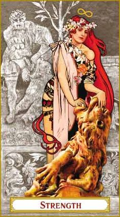 The Tarot of Prague - Strength (Strength is my favourite card, and this is an exquisite depiction)
