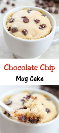 Chocolate Chip Mug Cake. Single serving cake, cooks in the microwave and ready in 5 minutes! # mug cake Chocolate Chip Mug Cake Easy Desserts, Delicious Desserts, Dessert Recipes, Yummy Food, Tasty, Recipes Dinner, Lunch Recipes, Appetizer Recipes, Dinner Ideas