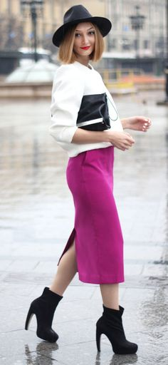 Hey females, don't miss away this great post that consists of voguish outfit strategies with a pencil skirt. A pencil skirt is probably the bits of cloth t Vintage Fall, Career Wear, Purple Suede, Suede Skirt, Formal, Skirt Fashion, White Tops, Casual, Fall Outfits