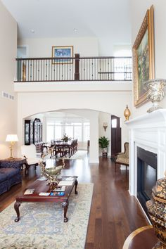 The upper balcony also provides a beautiful view to the great room and vestibule below.