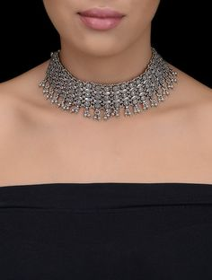 Buy Silver Classic Necklace with Floral Motif Jewelry Necklaces/Pendants Chronicles earrings necklaces bangles rings and more in traditional motifs Online at Jaypore.com