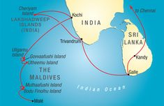 Republic of Maldives also referred to as the Maldive Islands, is an island nation in the Indian Ocean formed by a double chain of twenty-six atolls oriented north-south off India's Lakshadweep Islands, between Minicoy Island and Chagos Archipelago. It stands in the Laccadive Sea, about 700 kilometres (430 mi) south-west of Sri Lanka and 400 kilometres (250 mi) south-west of India.