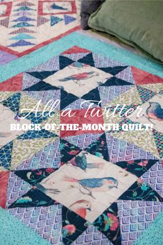 """Energetic Handmade Patchwork Quilt With Little Dog Appliqueon Borders Size 52"""" Wide X 51"""" Home & Garden"""