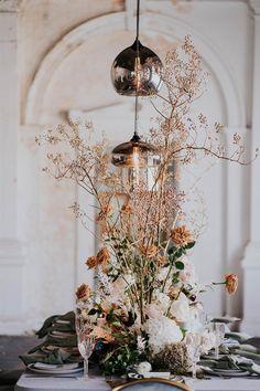 elegant wedding floral tablescape with hanging pendant lights Wedding Flower Arrangements, Wedding Centerpieces, Wedding Table, Floral Arrangements, Wedding Decorations, Table Decorations, Fall Wedding, Masquerade Centerpieces, Tall Centerpiece