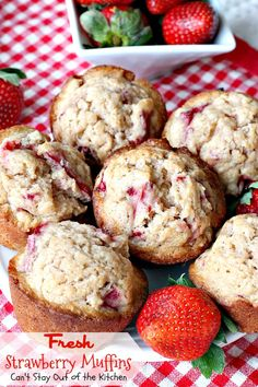 Fresh Strawberry Muffins | Can't Stay Out of the Kitchen | these lovely #muffins are so quick and easy to make. They're a great #holiday favorite, but something you can whip up any time of the year. #strawberries