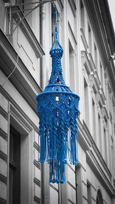 Macrame lamp on street in Berlin