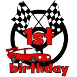 Red racing car with finish flags, red race car, and steering wheel 1st birthday design.