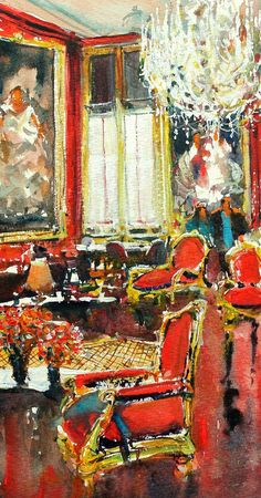 Buy Inside Schonbrunn, a Watercolor Painting on Paper, by maximilian damico from Czech Republic, For sale, Price is $255, Size is 12 x 7 x 0.1 in.