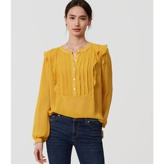 LOFT Ruffle Pintucked Blouse ($50) ❤ liked on Polyvore featuring tops, blouses, golden yellow, chiffon cami, chiffon ruffle blouse, long sleeve tops, yellow cami and chiffon tops