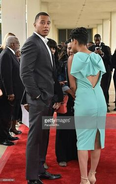 Actor Trai Byers and actress Grace Gealey attend the UNCF & Evening Of Stars& at Boisfeuillet. African Fashion Dresses, African Attire, African Wear, African Dress, Fashion Outfits, Womens Fashion, Elegant Dresses, Cute Dresses, Short Dresses