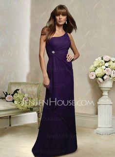 Bridesmaid Dresses - $110.99 - Elegant A-Line/Princess One-Shoulder Floor-Length Chiffon Charmeuse Bridesmaid Dress With Ruffle (007004139) http://jenjenhouse.com/pinterest-g4139