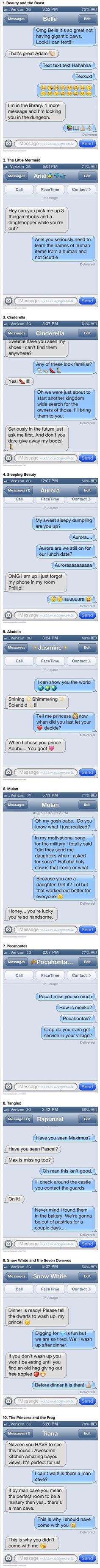 Here are some funny and weird text messages from Disney princesses to their princes. Mulan is the best! Walt Disney, Disney Love, Disney Magic, Disney Couples, Disney Stuff, Disney Princess Belle, Disney Princesses And Princes, Princess Style, Disney Memes