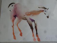 Vtg Carol Grigg Original Watercolor Framed Painted Horse Signed ...