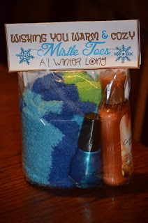 Touchet Soiree: Teacher Christmas Gifts - fuzzy socks, nail polish and lotion. Could also include a gift card for a pedicure.Could be a great christmas cheer gift, too! Teacher Christmas Gifts, Christmas Fun, Holiday Fun, Holiday Gifts, Christmas Gift Babysitter, Cheap Friend Christmas Gifts, Christmas Gifts For Neighbors, Simple Christmas Gifts, Babysitter Gifts