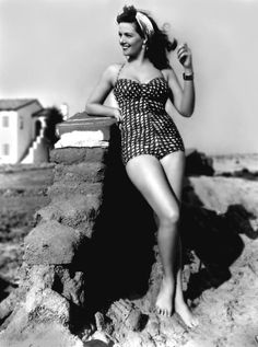 Posterazzi Jane Russell Posed in Gingham One Piece Swimsuit with Silk Headband Photo Print x , Golden Age Of Hollywood, Vintage Hollywood, Hollywood Stars, Classic Hollywood, Hollywood Glamour, Jane Russell, Ava Gardner, Yvonne De Carlo, Cinema Tv