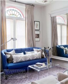 Style at Home - living rooms - Farrow and Ball - Skimming Stone - Peeakaboo Clear Coffee Table, Crate & Barrel Azure Sofa, blue sofa, bl. Living Room Decor On A Budget, Living Room Trends, Small Living Rooms, Home And Living, Living Room Designs, Living Spaces, Narrow Rooms, Blue Couch Living Room, Blue Couches