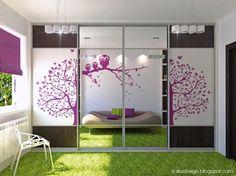 Quarto dos miúdos: Adolescente Room Decor Com Coruja E árvore adesivos de parede Mais Móveis Tapete Verde: Design Ideas Quarto bonito para m...