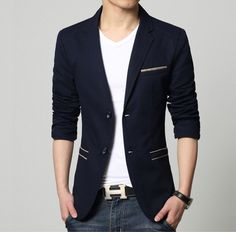 Check out our Men Blazers and Sports Jackets at daily deal pricing. No code require! Material : Cotton Blend / Polyester Color : Navy Blue, Khaki Sizes : XS, S, M, L XS Shoulder : 17 inch Sleeve : 25 inch Chest : 40 inch Length : Blazers For Men Casual, Casual Blazer, Blazer Outfits Men, Designer Suits For Men, Latest Mens Fashion, Fashion Edgy, Fashion Night, Slim Man, Men Suits