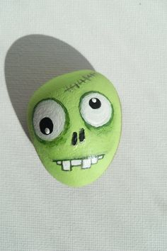 Zombie Painted Zombie's Head Painted Sea Stone OOAK by GerFire, $10.00 on etsy