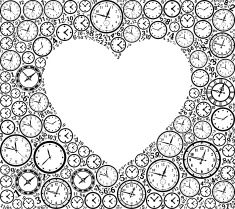 Heart on Time and Clock Vector Icon Pattern vector art illustration